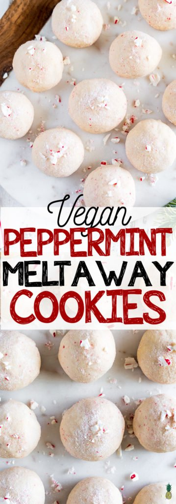 FESTIVE Vegan Peppermint Meltaway Christmas Cookies Sweet Simple Vegan #dessert #holiday #christmas #cookie #christmascookie #vegan #peppermint