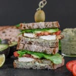 Baked Tofu & Pesto Sandwich for On The Go - Sweetsimplevegan.com #vegan #togo #oilfree #oilfreepesto #tlt #vegansandwich #onthego #lunch