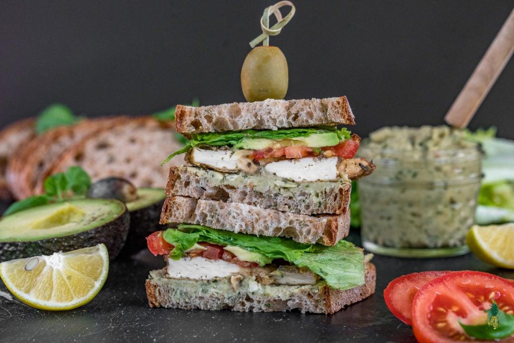 Baked Tofu & Pesto Sandwich for On The Go - Sweetsimplevegan.com #vegan #togo #oilfree #oilfreepesto #tlt #vegansandwich #onthego #lunch