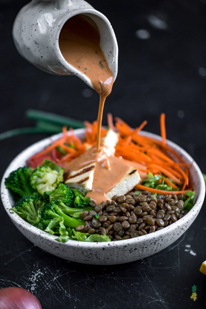 An easy & healthy creamy chipotle dressing -- dairy- & oil-free! #vegan #dressing #creamy #dairyfree #chipotle #lowfat #homemade #salads #yogurt