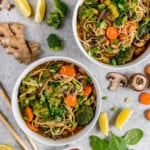 An easy to make Vegetable Ramen that is healthy, oil-free, and will cost less than $5! #budgetfriendly #vegan #meal #ramen #oilfree #lowfat #healthy #newyear #vegetableramen #cheap #lazymeal