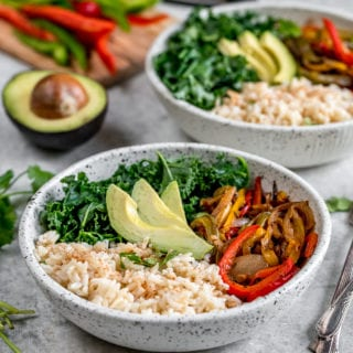 Roasted Fajita Vegetable Bowls {easy + oil-free} | Healthy Vegan Lunch For On The Go