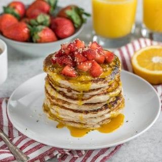 Fluffy Vegan Buttermilk Pancakes w/ Golden Milk Sauce {Easy + Oil-Free}