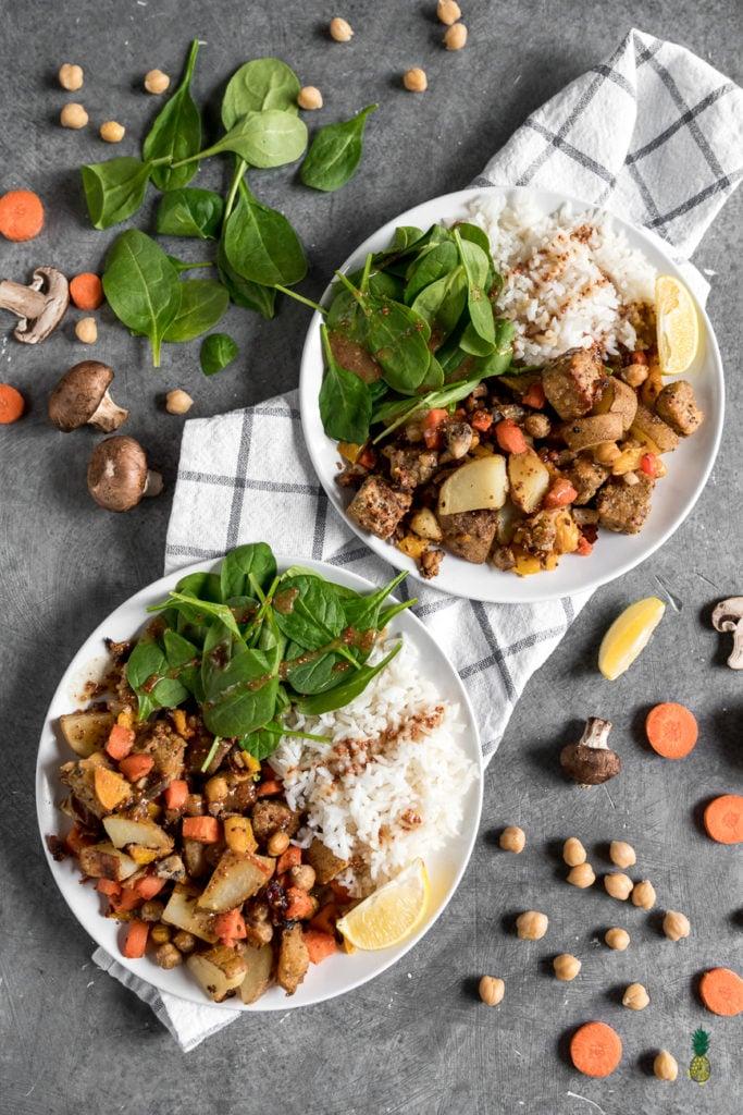 Maple and Mustard Glazed Vegetable Plate - $5 Vegan Meals sweetsimplevegan.com #vegan #recipe #vegetables #budgetfriendly #healthy
