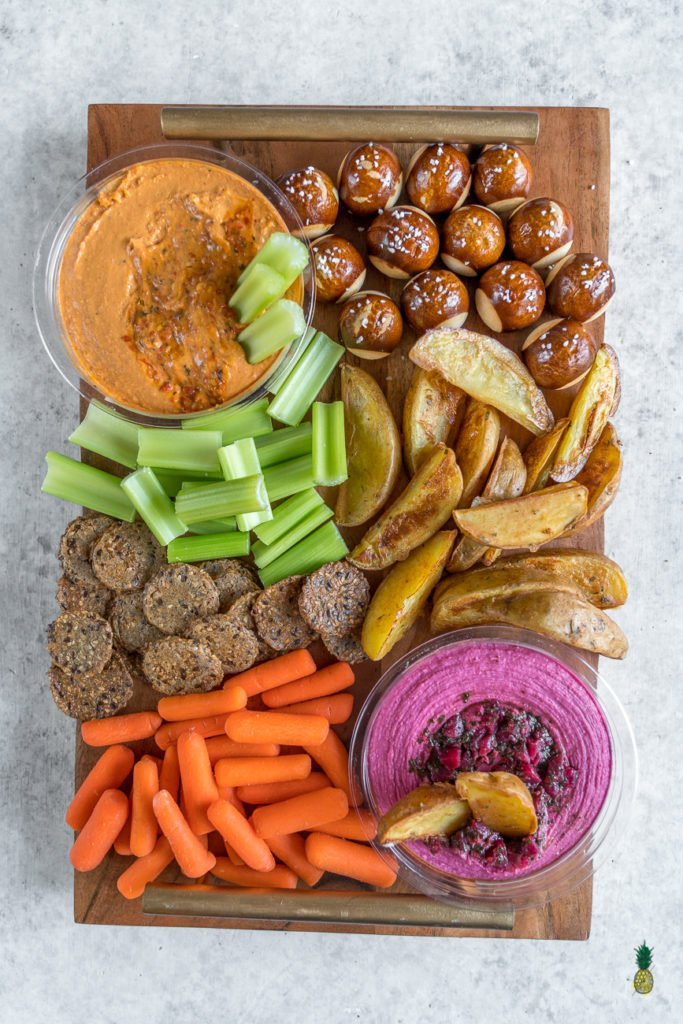 How to put together the PERFECT vegan party platter including Baked Mojo Fries! #vegan #superbowl #partyplatter #oilfree #mojo #fries #baked #hummus