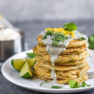 Savory Corn Pancakes w/ Cilantro Dill Cream Sauce {Vegan + Oil Free}