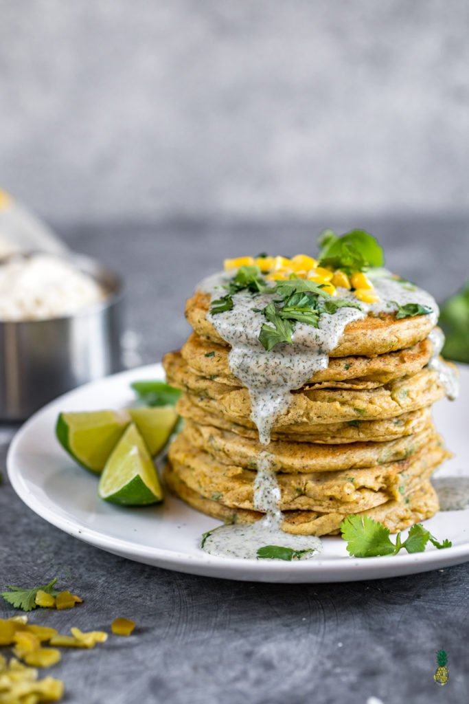 Savory Corn Pancakes Sweet Simple Vegan 2 #vegan #breakfast #pancakes #savory #corn