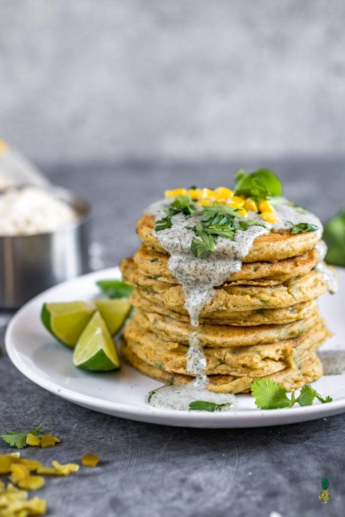 Savory Corn Pancakes Sweet Simple Vegan #vegan #breakfast #pancakes #savory #corn