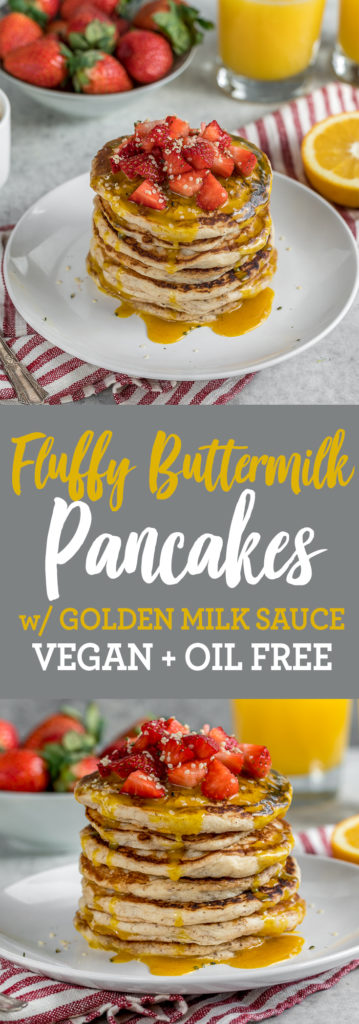 Fluffy Vegan Buttermilk Pancakes w/ Golden Milk Sauce {oil-free}