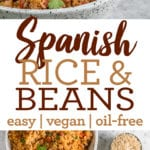 pinterest image for spanish rice and beans