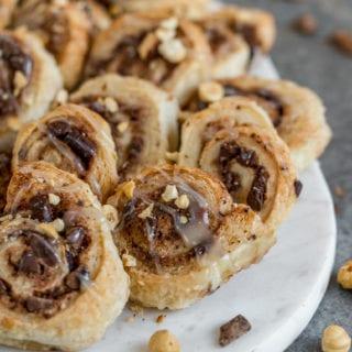 5-Ingredient Puffed Pastry Cinnamon Rolls {easy + vegan}