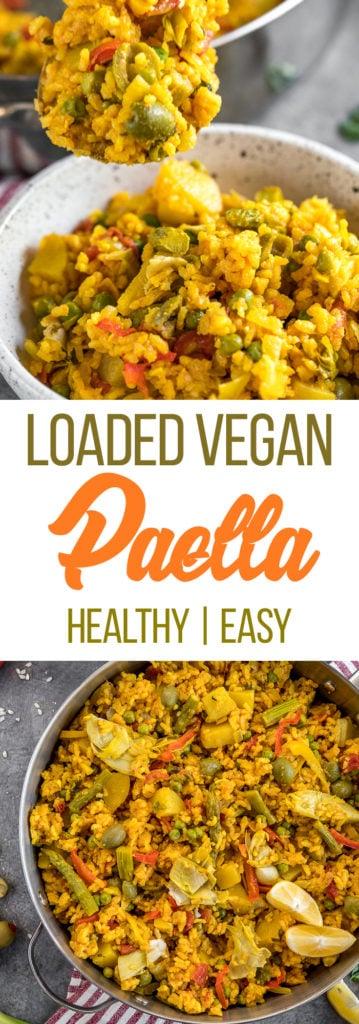 MUST TRY Loaded Vegetable Paella! Super fulling, easy to make AND vegan! #vegetable #loaded #paella #vegan #veganpaella #entree #veganentree #dinner #vegandinner #veganlunch #easyvegan #healthyvegan