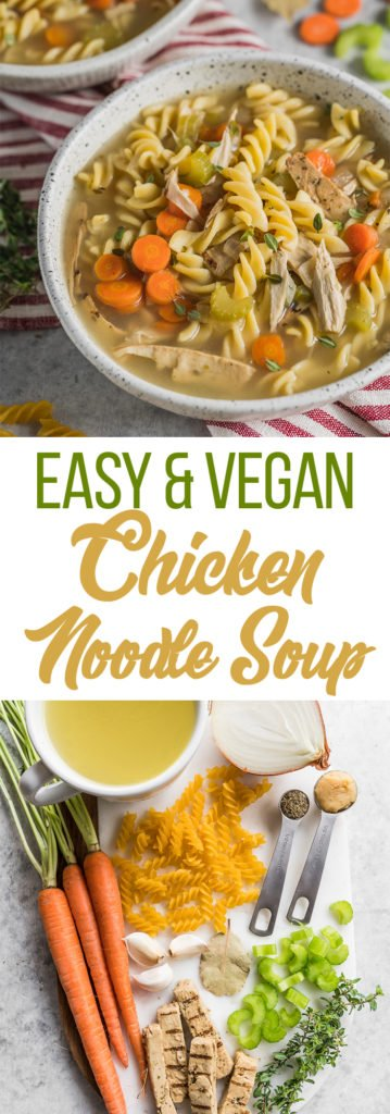 An easy and traditional Vegan Chicken Noodle Soup that is perfect for the cold winter weather and is guaranteed to help you feel cozy! #chickennoodlesoup #veganchicken #veganized #sweetsimplevegan #vegansoup #entree #veganrecipes #easyvegan #simplerecipe