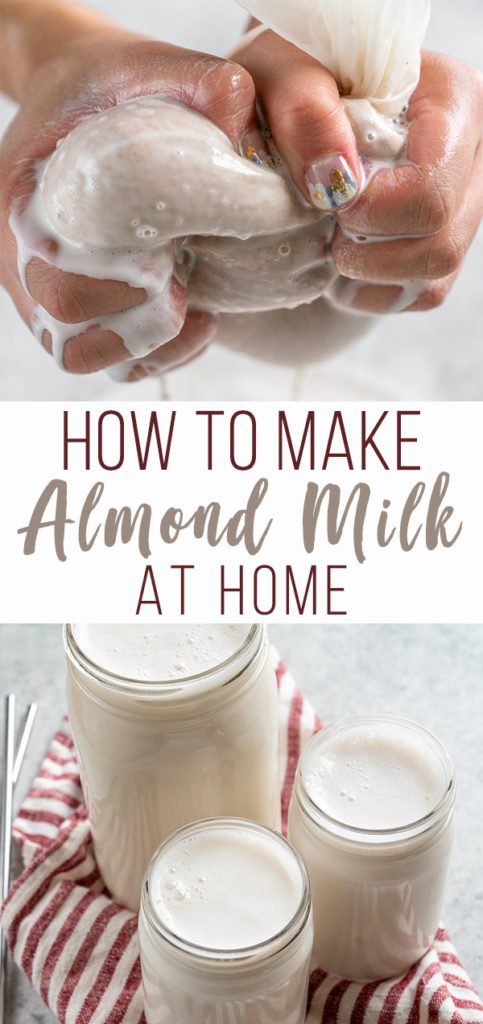 Making almond milk at home is not only super easy, but it is also so much more affordable than storebought almond milk at the store and even more delicious. The best part is that it requires just two ingredients-- almonds and filtered water! #howto #diy #almondmilk #nutmilk #plantmilk #easy #2ingredient #beverage #vegan #sweetsimplevegan #staple