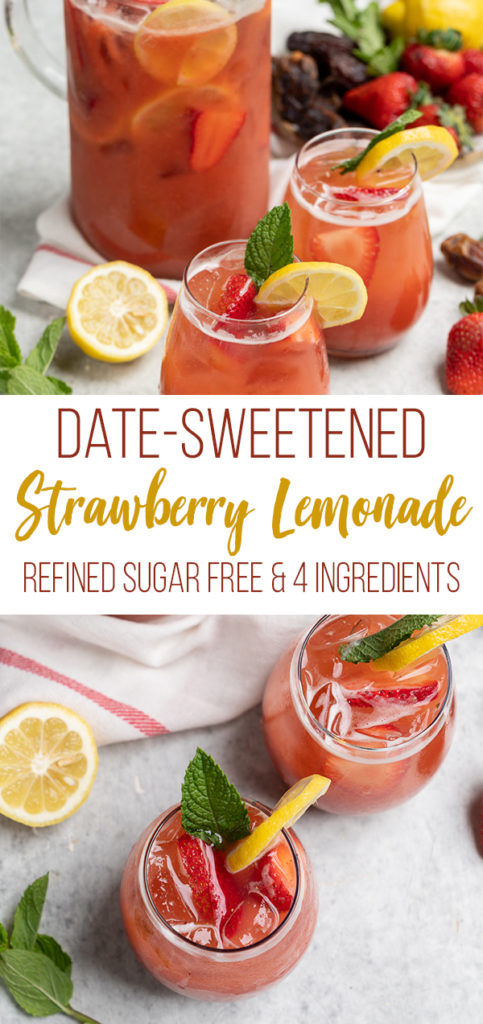 Your new favorite summer beverage--an easy and refined sugar-free strawberry lemonade that is sweetened with dates and made with just 4 simple ingredients! #sugarfree #4ingredients #lastminute #strawberrylemonade #datesweetened #summerbeverage #summer #picnic #vegan #sweetsimplevegan #party