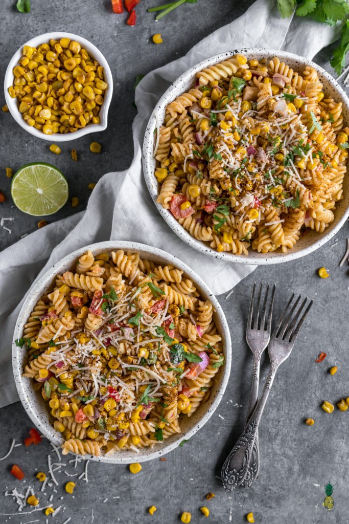An easy to make Mexican street corn inspired pasta salad perfect for picnics and barbecues.