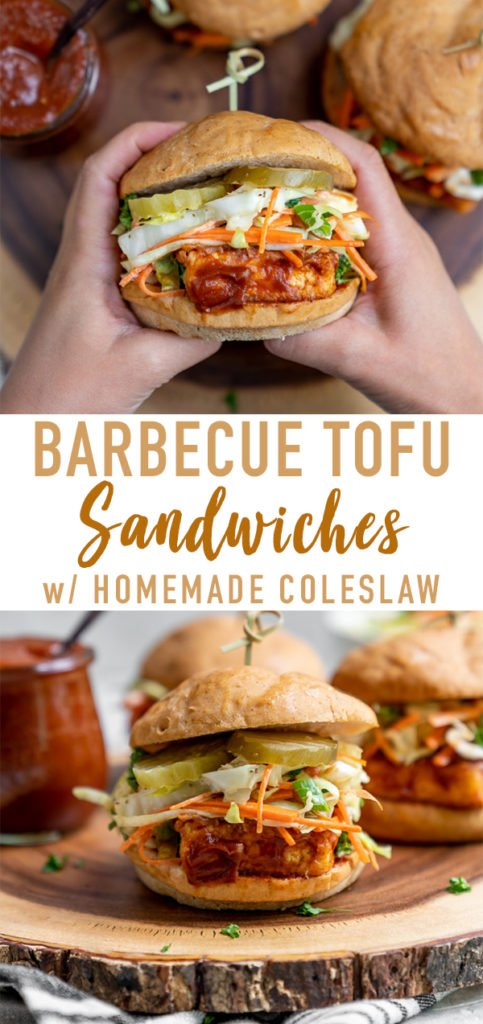 A delicious and simple tofu sandwich smothered in a tangy date-sweetened barbecue sauce and topped with a crunchy homemade slaw! #vegan #barbecue #coleslaw #musttry #tofusandwich #veganprotein #vegansummerrecipe #bestvegansandwich #entree #lunch #dinner #party #potluck