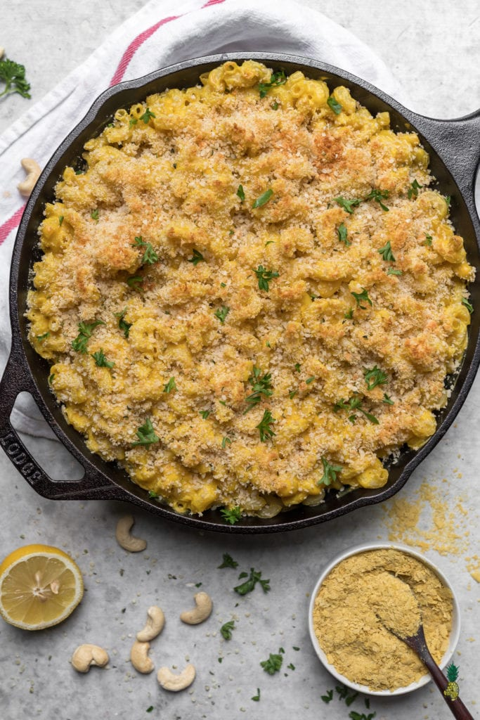overhead image of vegan mac and cheese in skillet