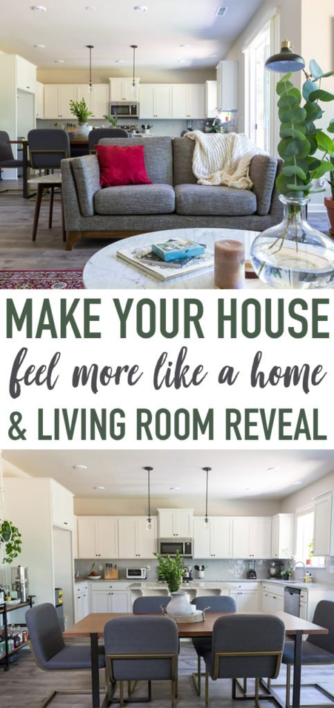 Showcasing the before and after decor and furniture of the downstairs area of our brand new home + sharing our top tips on how to make your house feel more like a home! #home #decor #lifestyle #decorating #sweetsimplevegan #ecohome #livingspace #decorating #design #remodel #beforeandafter