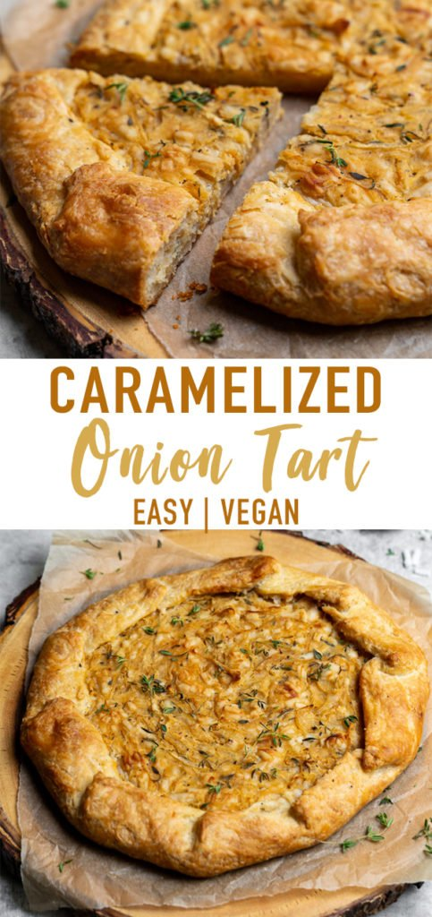 Caramelized onions paired with thyme and vegan cheese, all wrapped in a flaky homemade tart crust. Need I say more? This tart is perfect for entertaining guests and will be the hit of any party! #vegan #onion #tart #savorytart #side #appetizer #party #musttry #easy #veganpastry #veganized #bestofvegan #sweetsimplevegan #caramelized
