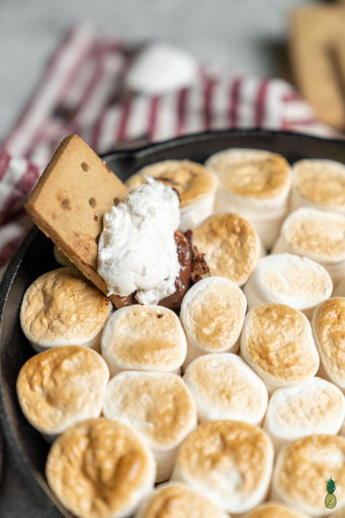 The perfect way to serve s'mores at a party without all of the mess and hassle. This recipe will allowyou to prepare a party's worth of smores in less than 20 minutes. #summer #vegan #s'more #smores #skillet #easy #party #10minute #recipe #musttry #veganized #lowmaitenence #kids #vegankids #snack #dessert #marshmallows