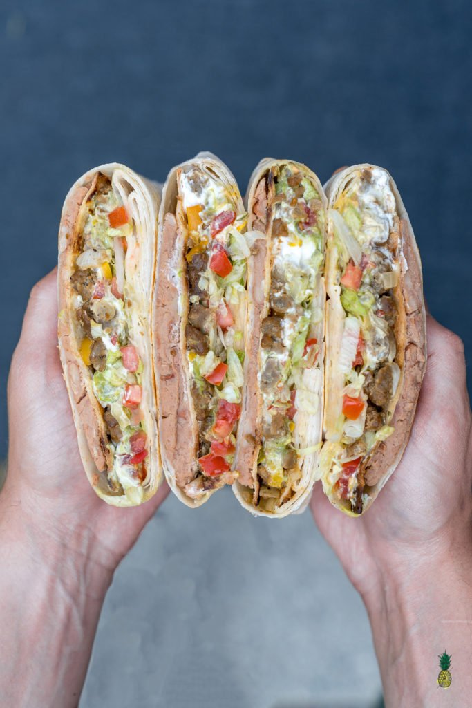 A homemade version of the Taco Bell signature crunch wrap made vegan.