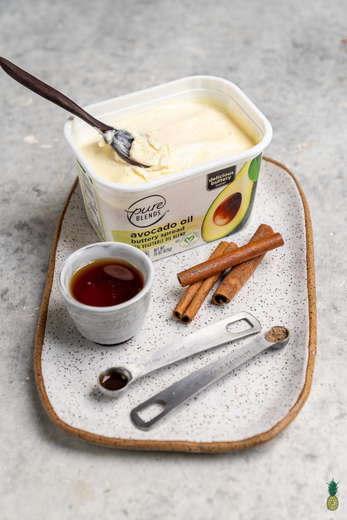An easy and perfectly sweetened cinnamon butter that is ready in 5 minutes or less! This recipe is perfect on breakfast toast but is also great in mashed sweet potatoes, roasted fall fruit and even on waffles and pancakes. It is perfect for kids, too!#cinnamon #butter #kids #5minute #breakfast #hack #plantbased #vegan