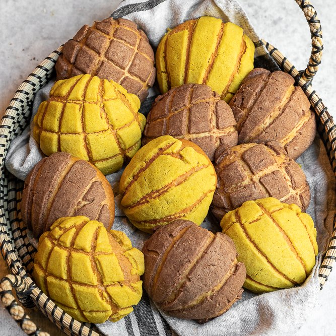 Vegan Conchas Mexican Sweet Bread In Basket