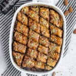Vegan Date-Sweetened Baklava with Pistachios, Almonds and Walnuts Overhead