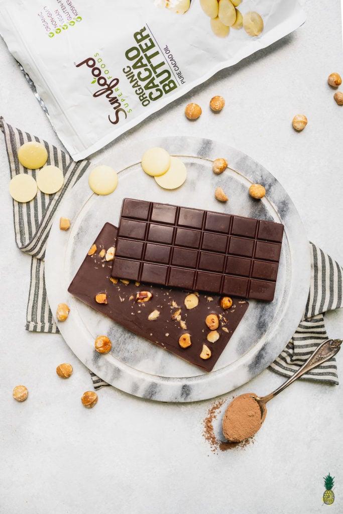 Vegan Chocolate Bars with Macadamia Nuts