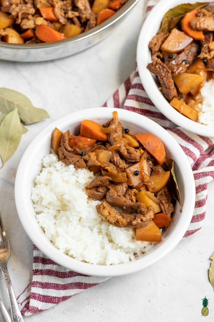 Vegan Filipino Adobo with soy curls! Gluten-free and easy to make in less than 30 minutes.