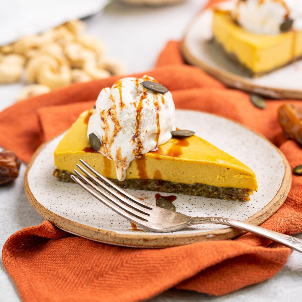Vegan Pumpkin Chai Cheesecake with Whipped Cream