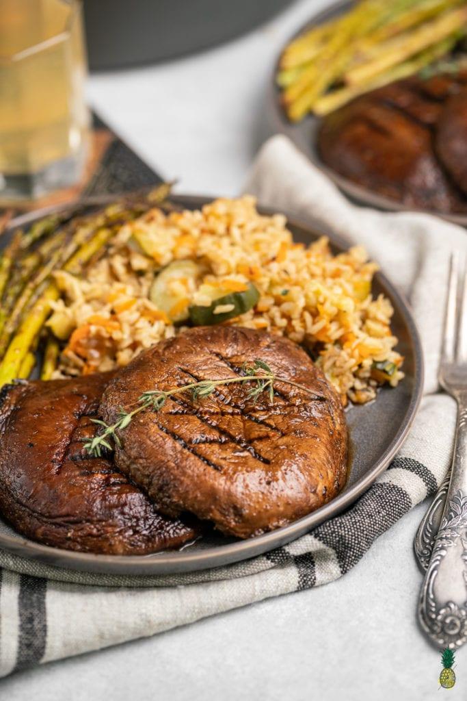 Grilled Portobello Mushroom Steaks Close Up Dinner