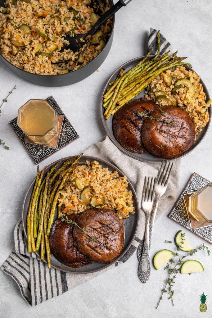 Vegan Dinner Portobello Steaks with Gingerbeer