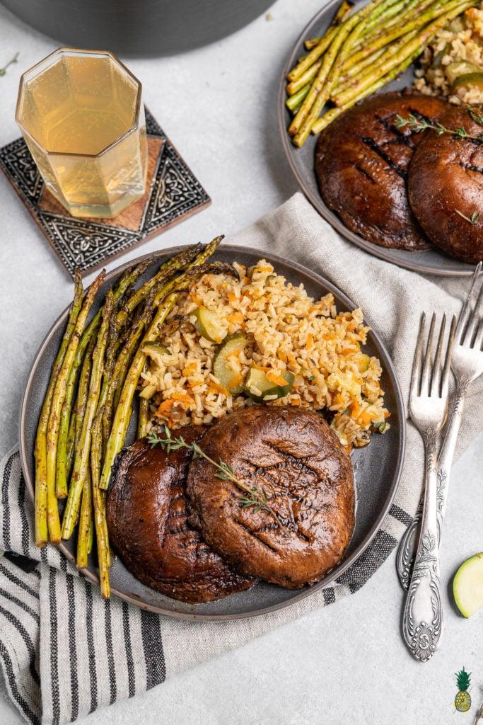 Christmas Recipe over head portobello mushroom steaks