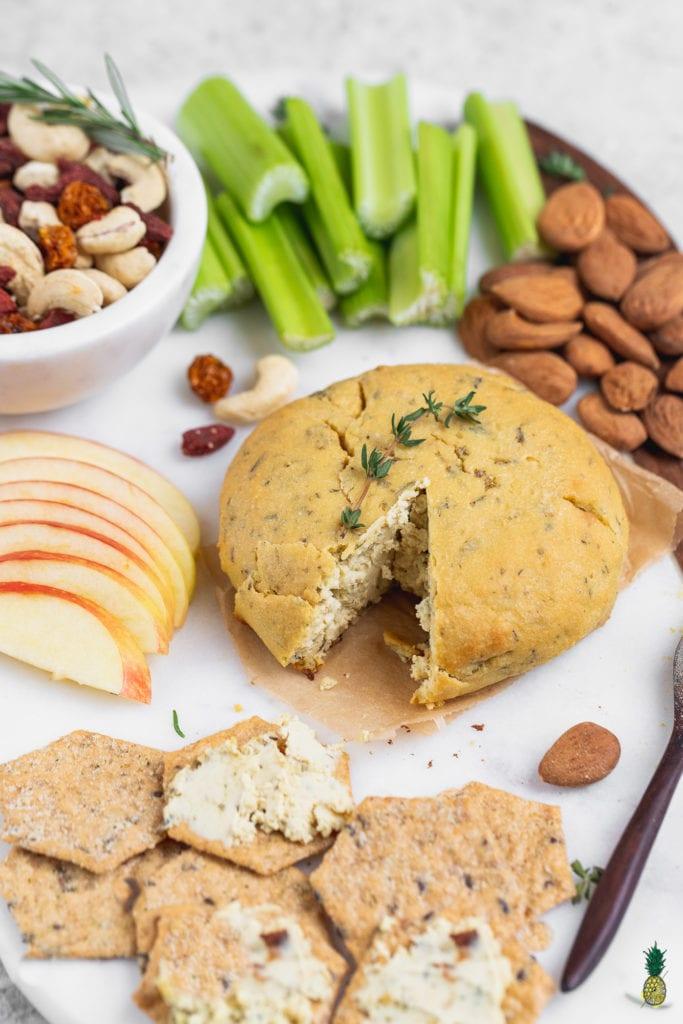 Vegan Baked Almond Cheese Ball Party Platter