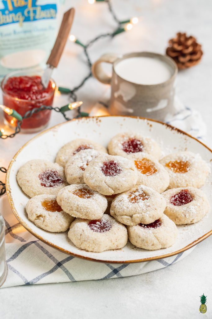 Vegan Gluten-free Thumbprint Cookies with Apricot and Strawberry Jam