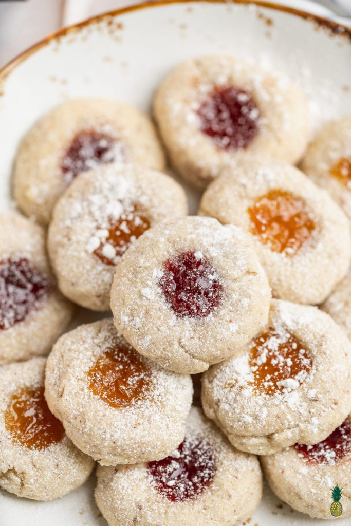 Christmas Recipe - Vegan Gluten-free Thumbprint Cookies with Apricot and Strawberry Jam