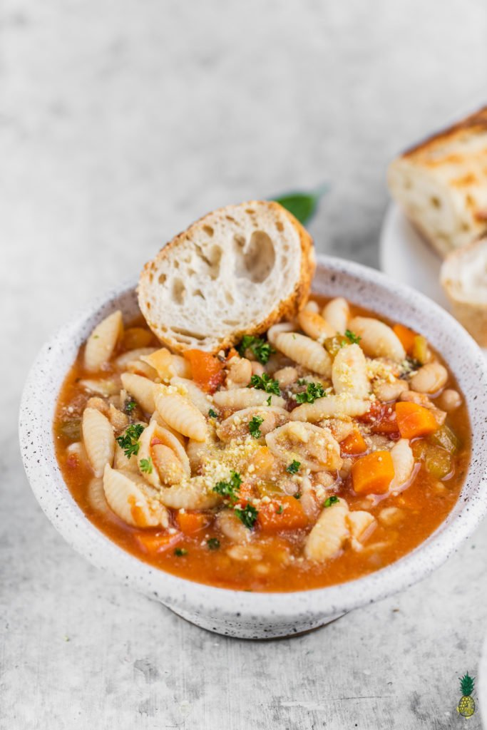 Vegan Instant Pot Pasta Fagioli Soup in Bowl