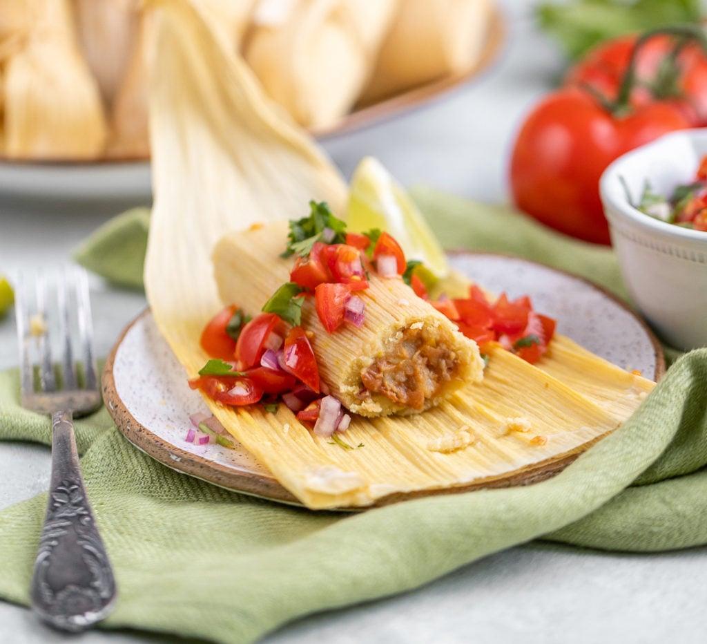 Oil-free Vegan Tamales with Pico de Gallo and Bean Filling