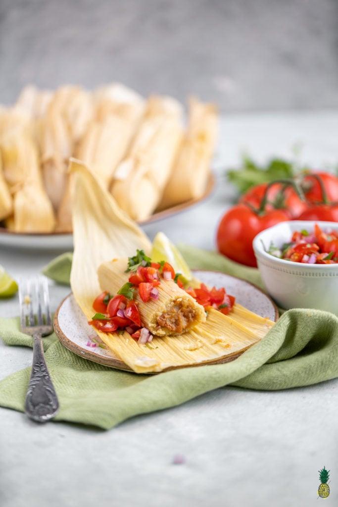 Christmas Recipe - Oil-free Vegan Tamales with Pico de Gallo and Bean Filling
