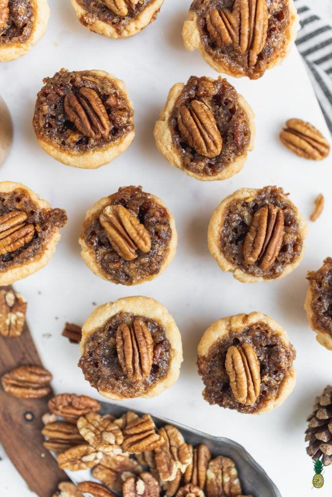Christmas Recipe - Vegan Pecan Tarts Tassies Overhead