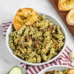 Avocado Pesto Pasta with Garlic Bread