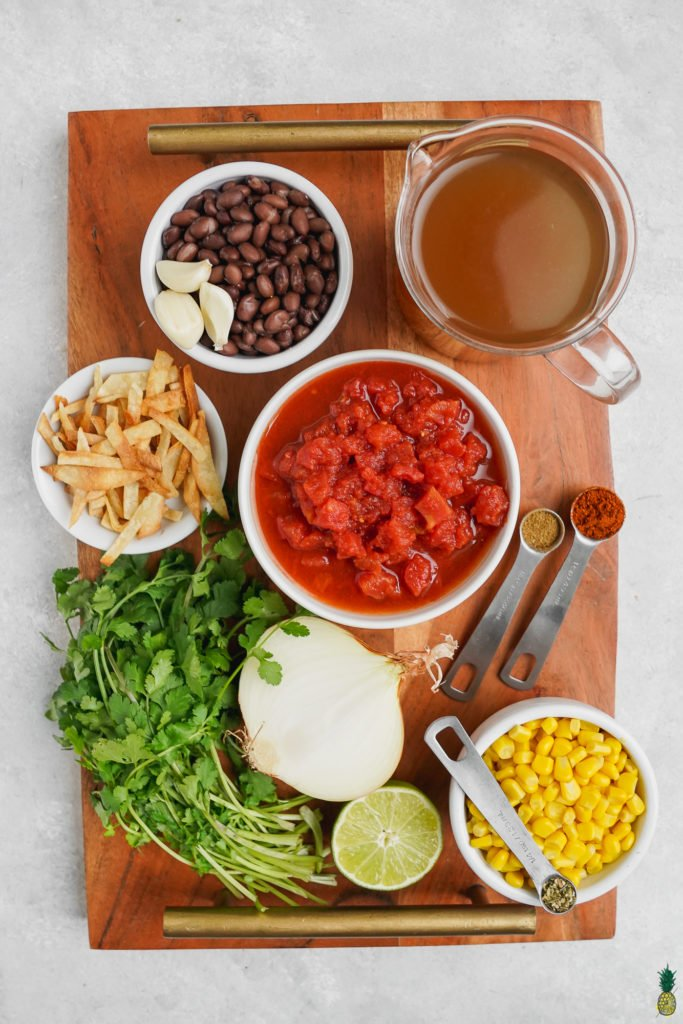 Ingredients in Bowls for Tortilla Soup