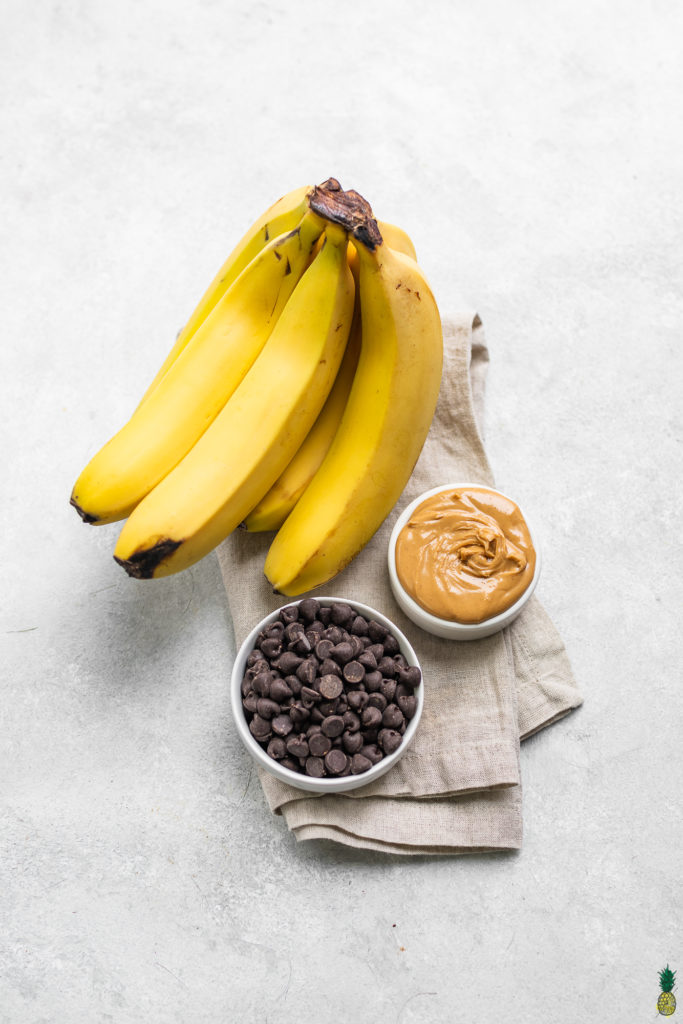 Bananas, peanut butter and chocolate chips ingredient shot