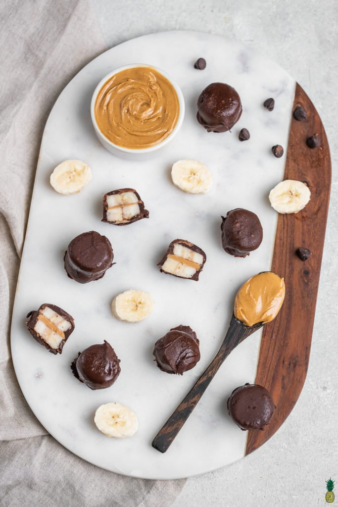 3-Ingredient frozen chocolate covered bananas with peanut butter