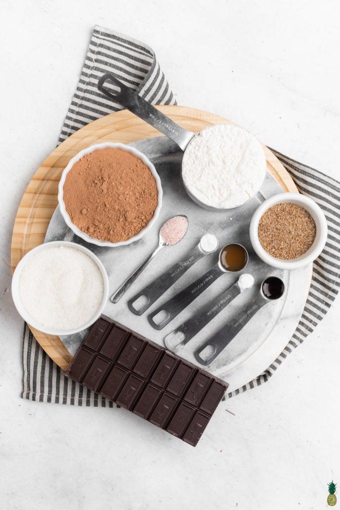 Ingredients for Single Serving Vegan chocolate Cake Sweet Simple Vegan