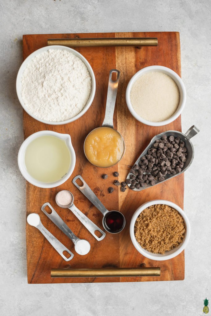 Ingredients for vegan chocolate chips on a board