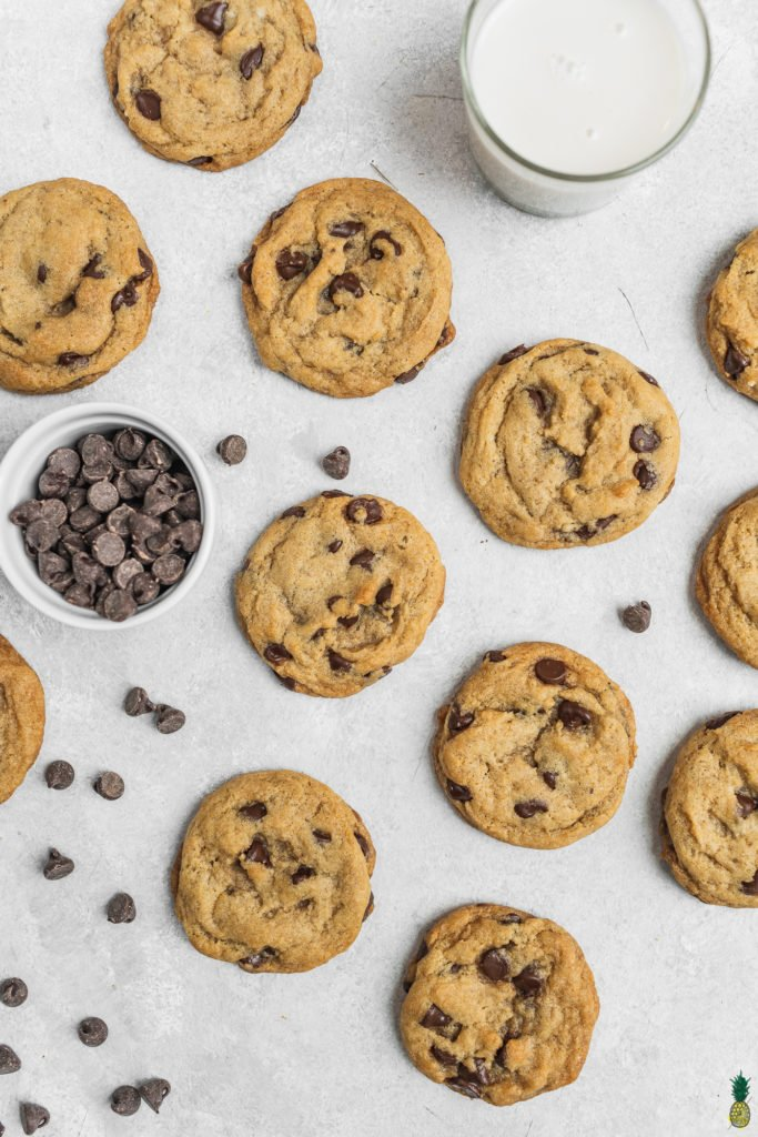 The perfect vegan chocolate chip cookies with almond milk