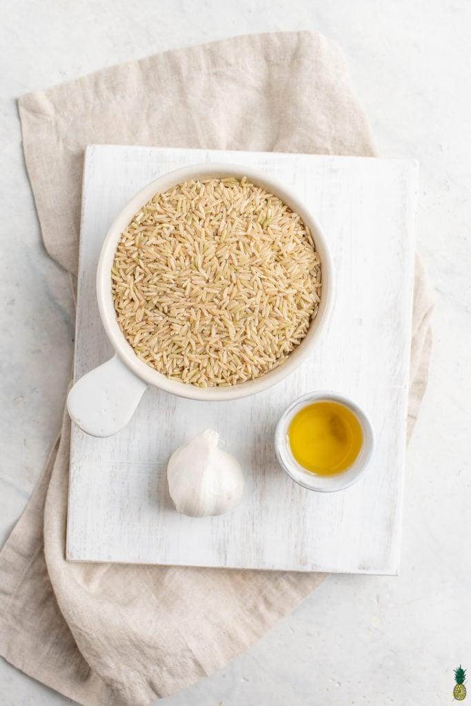 Ingredients to make vegan filipino garlic fried rice